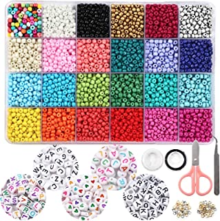OUTUXED 7200pcs 4mm Glass Seed Beads and 300pcs Alphabet Letter Beads for Bracelets Jewelry Making and Crafts with Elastic...