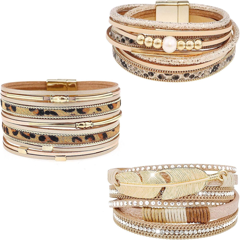 Wovanoo Leather Wrap Bracelet Set 3Pack Multilayer Cuff Bracelet Magnetic Clasp Bracelet Feather Tree Bead Crystal Bracelet for Women Girls