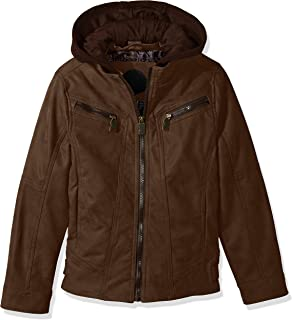 Urban Republic Boys' Little Pu Suede Moto Faux Leather Jacket, Brown, 5/6