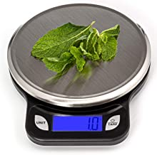SALUBRE++ Digital Food Scale with Stainless Steel Weighing Platform. Precision Kitchen Scale Weighs in Pounds, Ounces, or Grams to 13 lb (5.89 kg) with 1/2 gm Increments. Batteries Included.