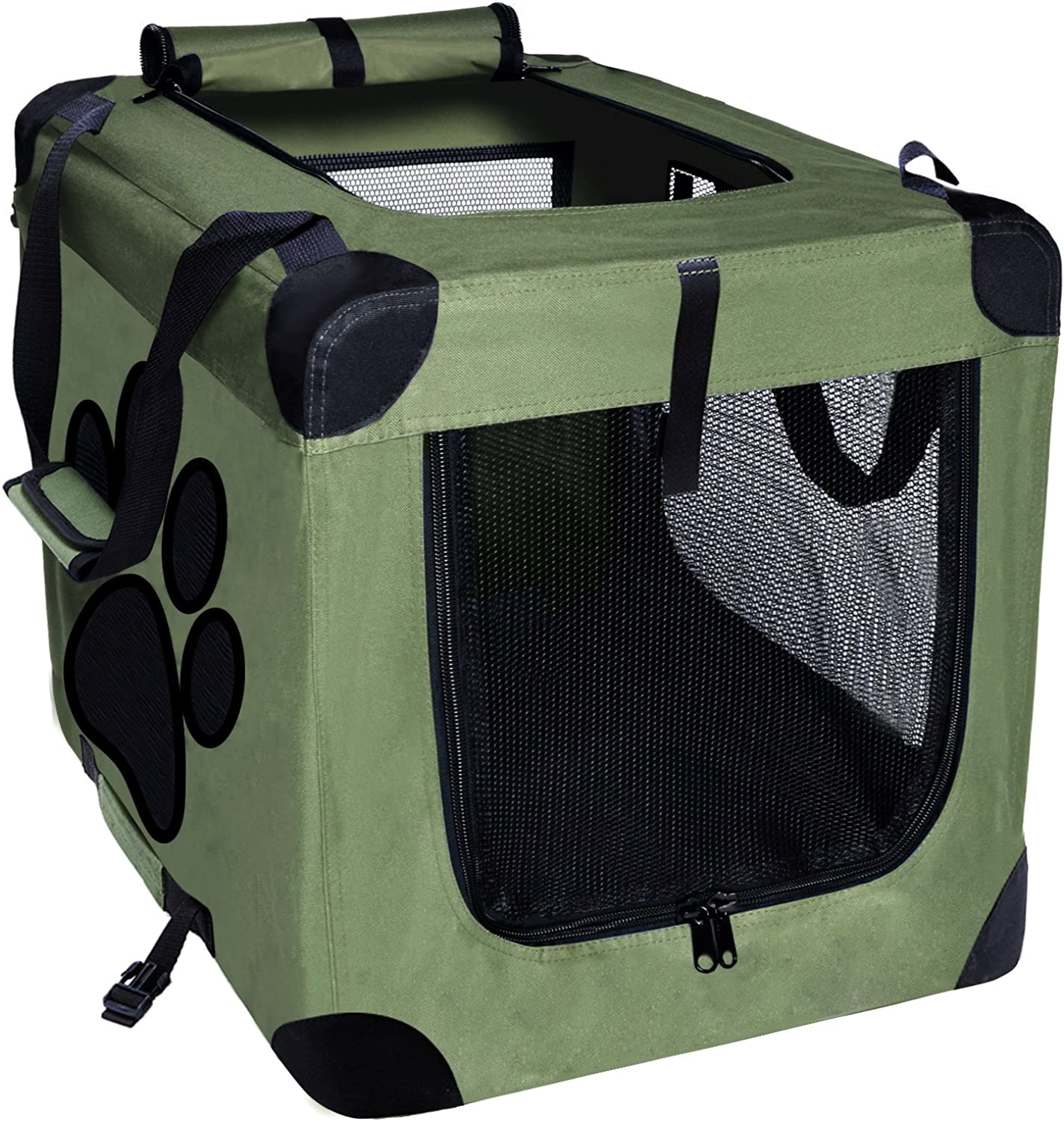 EXPAWLORER Dog Crate Collapsible Foldable Indoor Outdoor Pet Home, Deluxe Pet Carrier, Green