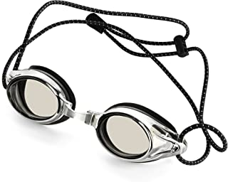Anti-Fog Racing Swimming Goggles - by Proswims Gray Lens with Quick Adjustable Elastic Bungee Strap, Hard Case and Bonus Swim Goggles Microfiber Cleaning Cloth