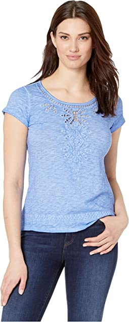 Jersey Slub Cap Sleeve Embroidered Top