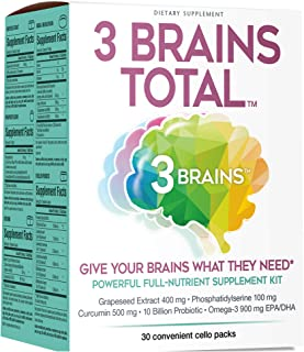 3 Brains by Natural Factors, 3 Brains Total Kit, 30 Single-Serve Packs (30 Servings)