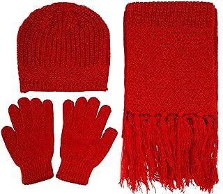 Women's 3 Piece Winter Set - Knitted Beanie, Scarf, Gloves