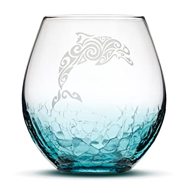 Sand Carved Stemless Wine Glass, Dolphin, Crackle Teal, Handblown, Tribal Tropical Design, Etched Gifts by Integrity Bottles (Crackle Teal Dolphin)