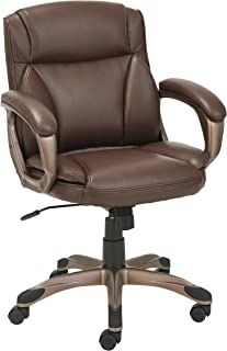 Alera ALE Veon Series Low-Back Leather Task Chair w/Coil Spring Cushion, Brown