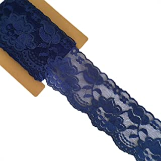Lace Realm 3.15 Inches Wide×10 Yards Stretch Floral Pattern Lace Ribbon Trim Lace for Headbands Garters & Crafts (Navy Blue)