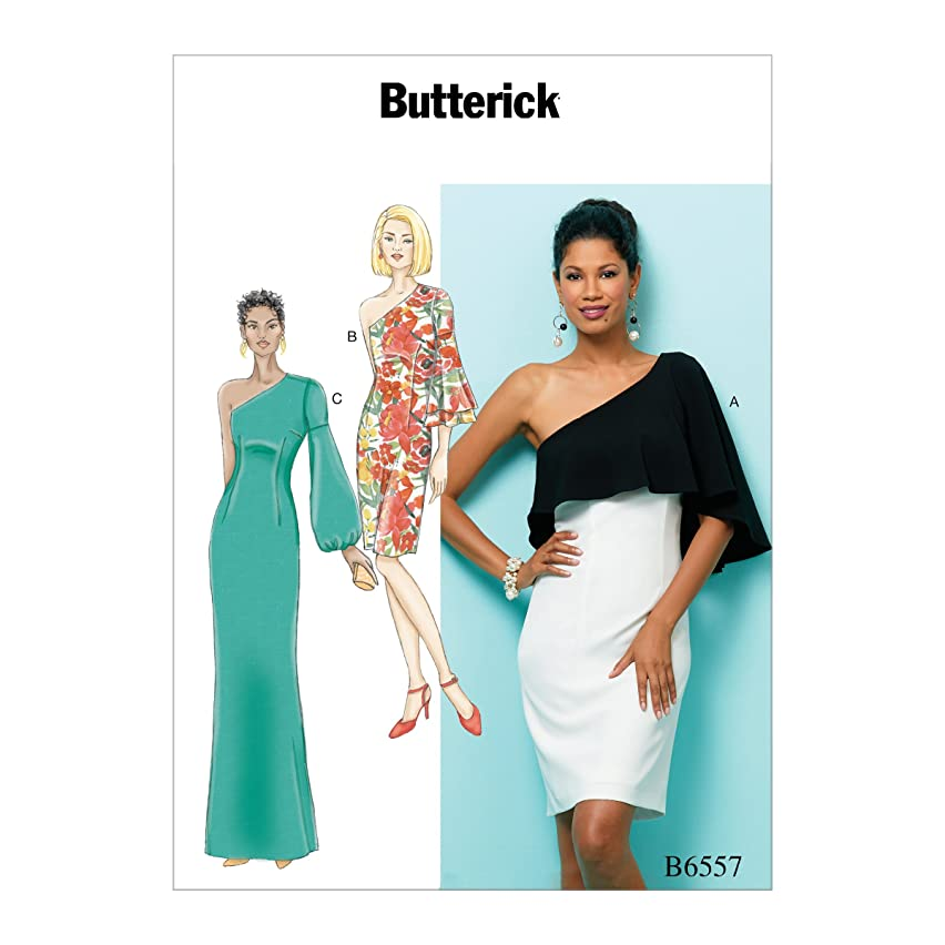 Butterick B6557A50 Women's One Shoulder Dress Sewing Pattern, Sizes 14-22