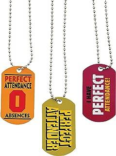 Fun Express - Perfect Attendance Dog Tag Necklaces - Jewelry - Necklaces - Dog Tag Necklaces - 12 Pieces