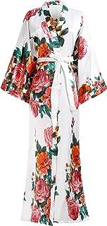 BABEYOND Kimono Robe Long Floral Bridesmaid Wedding Bachelorette Party Robe 53 Inches