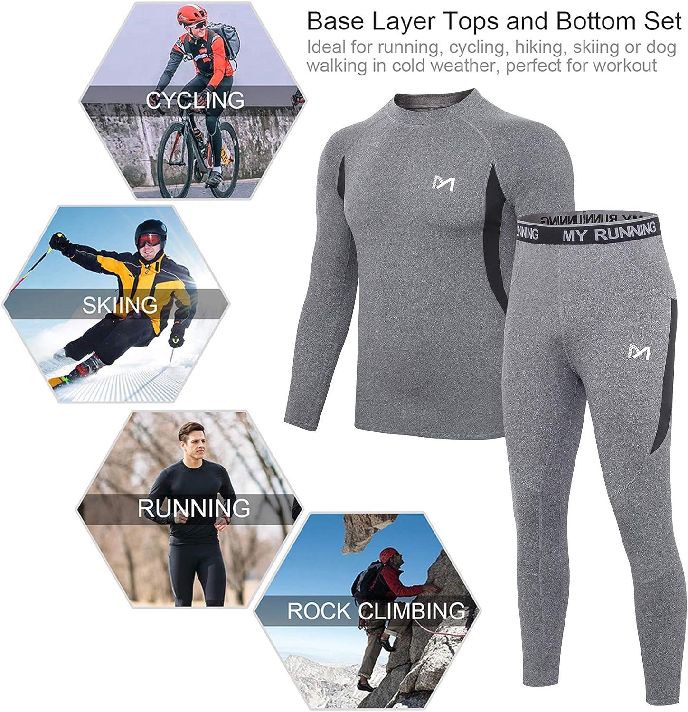 Sport Base Layer Maillot Manches Longues Pantalon Quick Dry Sou Vetement pour Lentra/înement Ski Running Randonn/ée ESDY Ensemble de sous-V/êtements Thermiques Homme