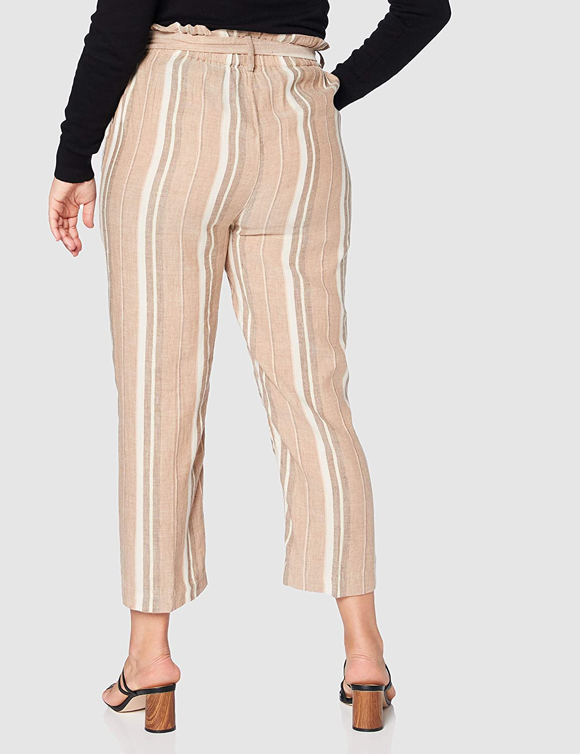 Herrlicher Comfy Multi Stripes Lurex Linen Pantalon Femme Marron (Umbra 171)