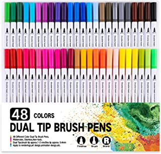 RIANCY Dual Tip Colored Brush Pens 0.4mm Fine Point Art Supplies Drawing Markers Kit For Adult Coloring Kids Painting Craf...