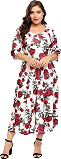 Women Plus Size Vintage Style Swing Dress Half Sleeve Floral Party Cocktail Wedding Dress