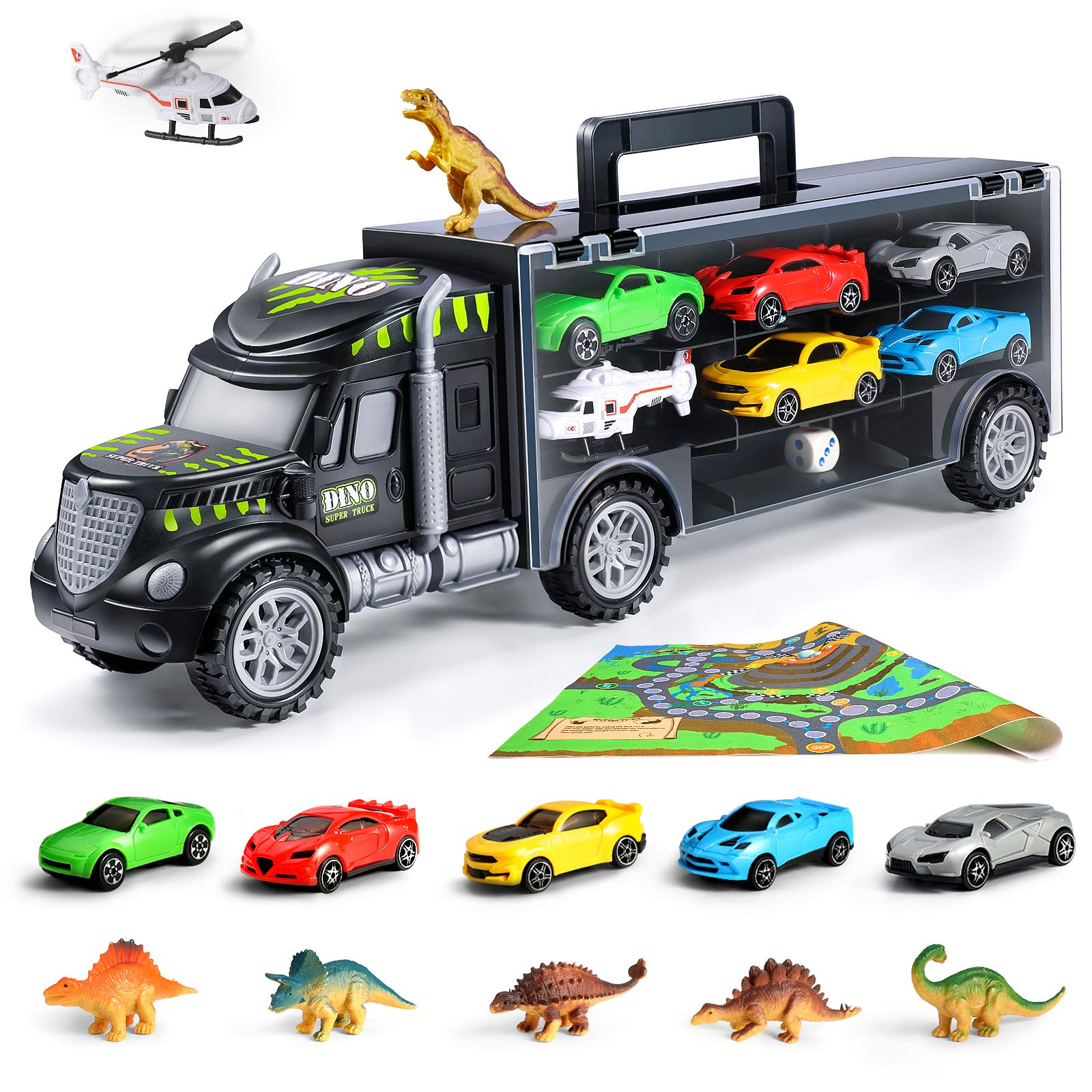 Toddlers Transport Car Dinosaur Carrier Truck Toy with 6 Racing Cars Tractor Trailer Vehicles Fit 6 Toy Cars Slots Dinosaur Toys-Great Gifts for Boys//Girls