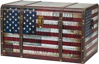 Household Essentials 9203-1 Jumbo Decorative Home Storage Trunk - Luggage Style – Americana Design