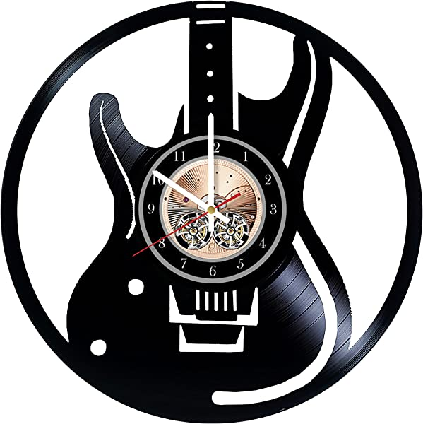 Electric Guitar Design Vinyl Record Wall Clock Get Unique Home Room Or Office Wall Decor Gift Ideas For Boys And Girls Musical Instruments Unique Modern Art