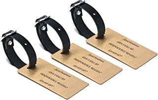 Set of 3 Custom Two Sided Engraved Solid Brass Luggage Tag with Leather Strap - Personalized Gift