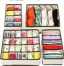 Go Hooked Fabric Drawer Undergarment Organizer, Storage Boxes, Innerwear Storage Box, Closet Organizers, Under Bed Organizer for Clothing (Set of 4 Pcs)