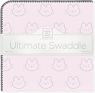 SwaddleDesigns Ultimate Swaddle, X-Large Receiving Blanket, Made in USA Premium Cotton Flannel, Baby Bunnie on Pastel Pink (Mom's Choice Award Winner)