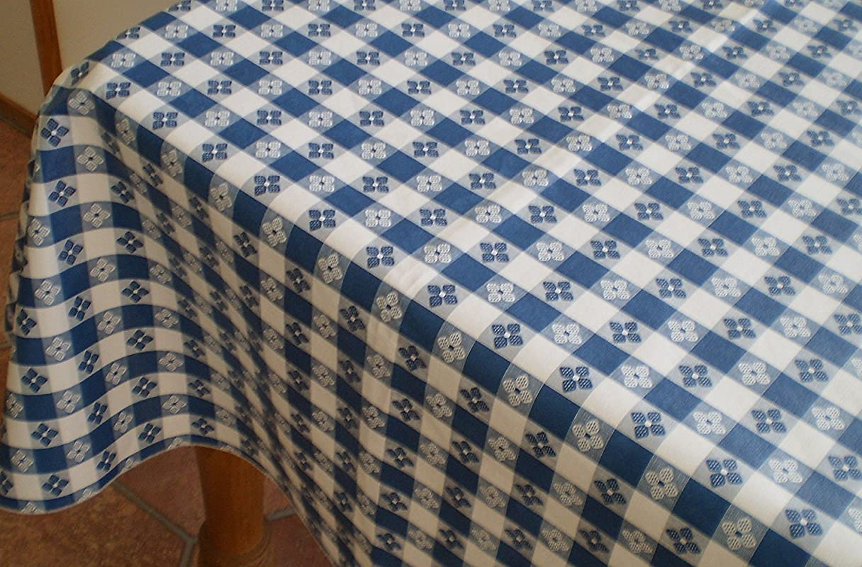 Blue Hill 52 X90 Classic Blue Tavern Check Flannel Backed Vinyl Tablecloth Made In The U S A