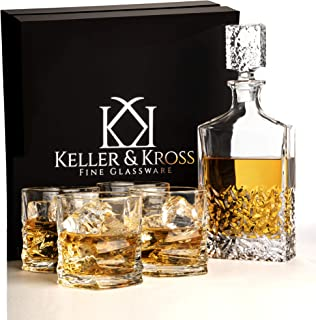 Gold Class Whiskey Decanter and Glass Set, Genuine Lead Free Crystal Glass, Wedding Anniversary Gift Set for Men Who Have Everything.House Warming Present. Liquor Decanter Set for Scotch & Bourbon.