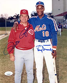 Pete Rose & Darryl Strawberry Autographed 8x10 Photo (JSA) - Autographed MLB Photos