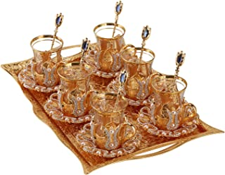 (Set of 6) Turkish Tea Glasses Set with Saucers Holders Spoons & TRAY, Decorated with Swarovski Type Crystals and Pear...