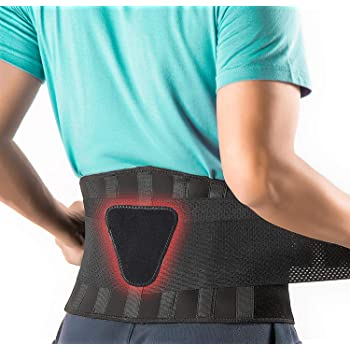 FEATOL Back Brace Support Belt-Lumbar Support Back Brace for Lifting,Back Pain, Sciatica, Scoliosis, Herniated Disc Adjustable Support Straps-Lower Back Brace with Removable Lumbar Pad for Men & Women