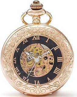 SEWOR Mens Dress Gentleman Vintage Magnifier Skeleton Pocket Watch Mechanical Hand Wind with Great Box (Rose Gold Case)