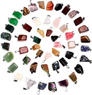 Hicarer 50 Pieces Mixed Irregular Healing Stone Beads Crystal Stone Pendants Quartz Charms with Storage Bag for Jewelry Ma...