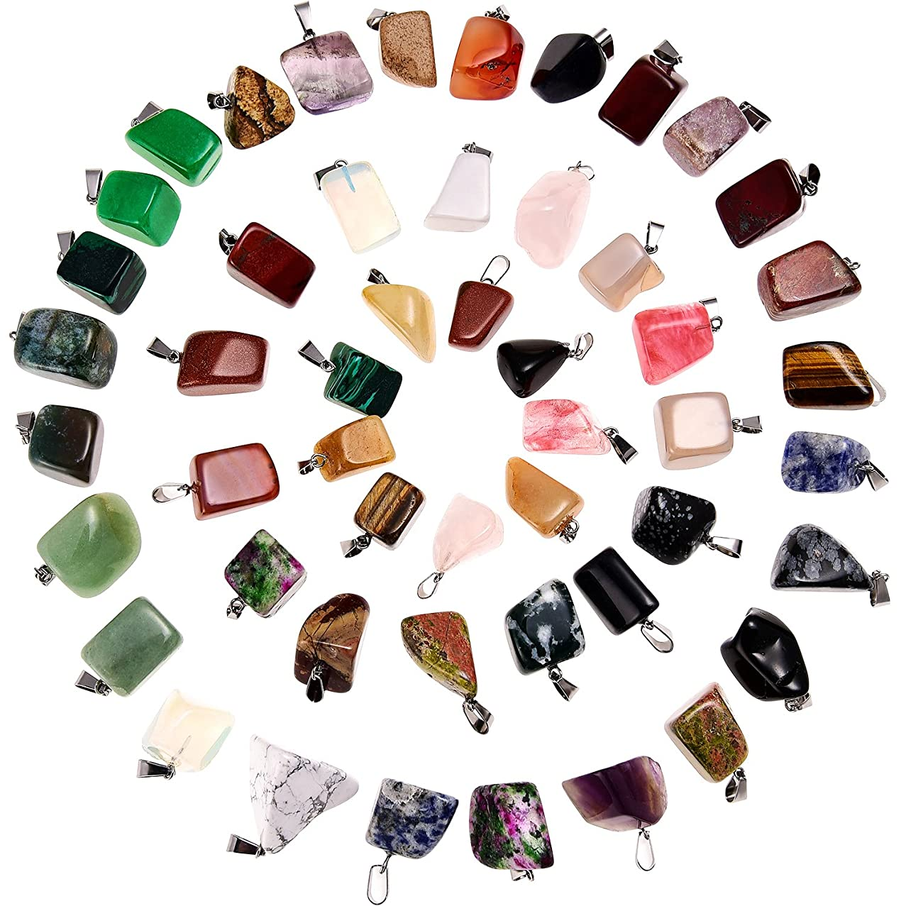 50 Pieces Mixed Irregular Healing Stone Beads Bullet Shape Crystal Stone Pendants Quartz Charms with Storage Bag for Jewelry Making (Style 1)