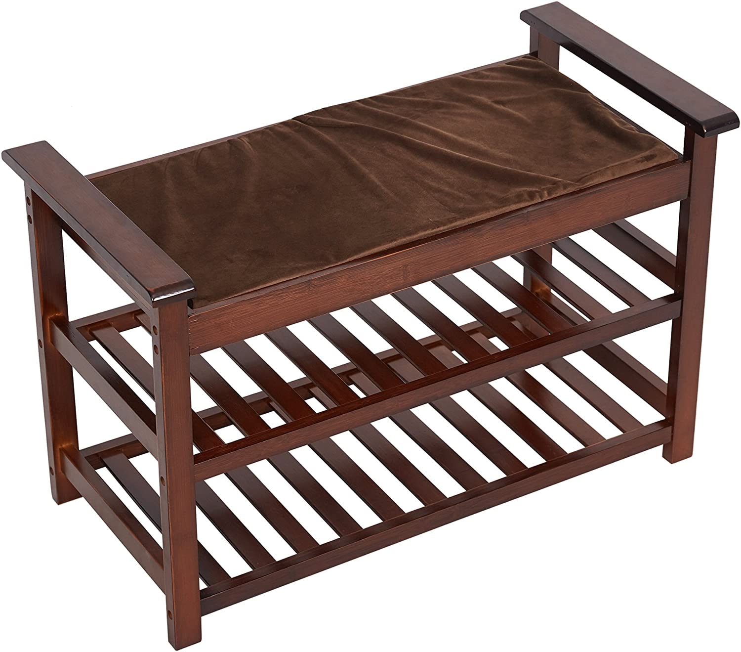 2-Tier Lowest price challenge Wood Shoe Max 54% OFF Rack Bench Storage Seat with Cushion Stur