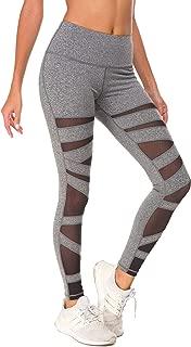 Queenie Ke Women Mesh Leggings Mid-Waist Gym Yoga Tights Running Pants