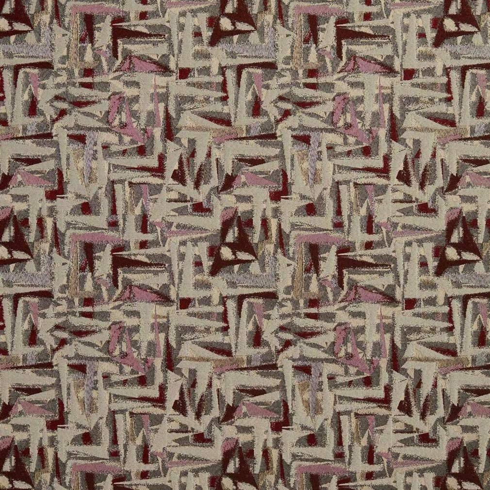 Essentials Heavy Max 84% OFF Duty Abstract Upholstery Burgundy Boston Mall Fabric Beige
