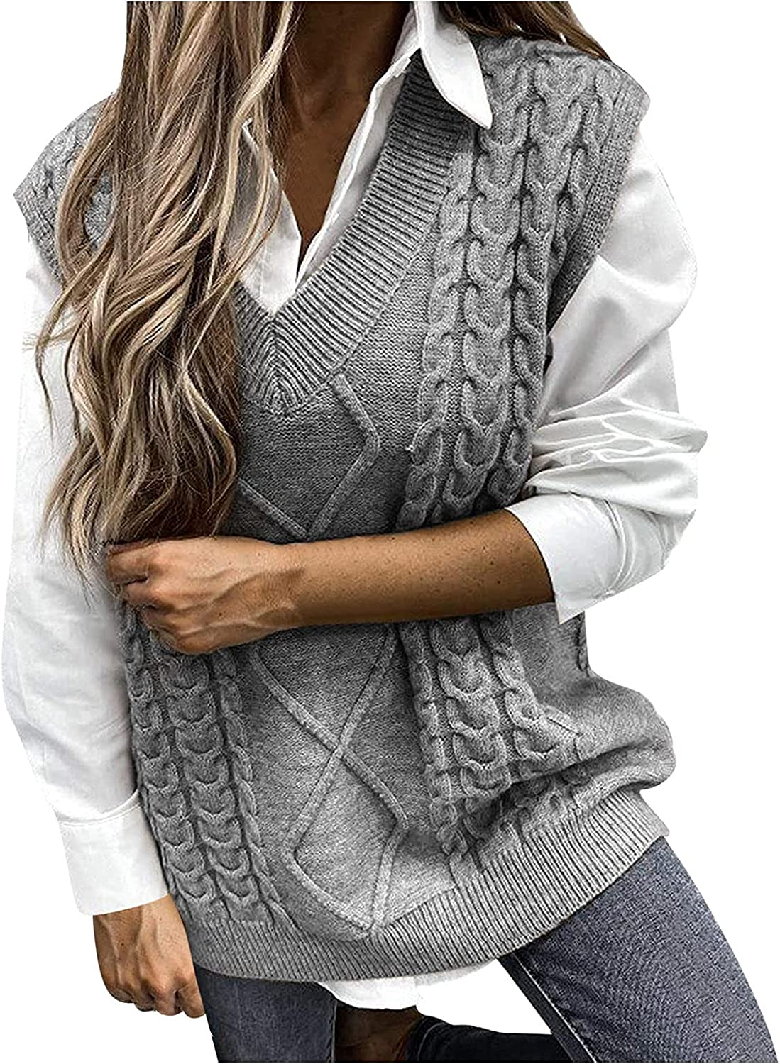 Ellymi Sweater Vest Women Oversized V Neck Sleeveless Sweaters Womens Cable Knit Tops Vintage Sweaters Tops