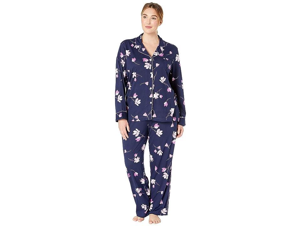 LAUREN Ralph Lauren Plus Size Knit Notch Collar Pajama Set (Navy Floral) Women