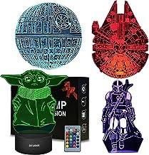 Star Wars Nachtlampje Gift voor Kids,3D Illusie met vier patroon en 16 kleuren Verandering Touch en Afstandsbediening LED ...