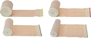 Dealmed Elastic Bandage Wrap with Self-Closure 4 Roll Variety Pack, Comfort Compression Roll, 4.5 Yards Stretched (1 Roll Each 2