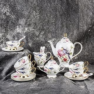 Ndht Bone Chinaティーカップ/コーヒーカップ& Saucersセットwith spoons-6.7oz、forホーム、レストラン、表示を家族や友人、ブルー鳥 Milk Jug and Sugar Pot NDHT180717106