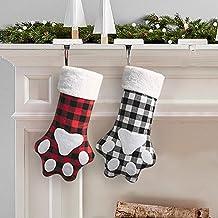 MOSTOP Pet Dog Christmas Stockings 2 Pack Buffalo Check Plaid Xmas Stockings 17 Inches Dog Cat Paw Printed Fireplace Hangi...