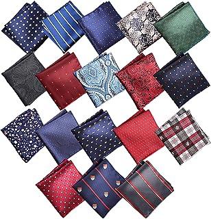 جيب مربع منديل كويا 18 حزمة منديل للرجال، مجموعات مربعات الجيب الحرير خمر هانكيز للرجال الزفاف متعدد الألوان منديل للرجال