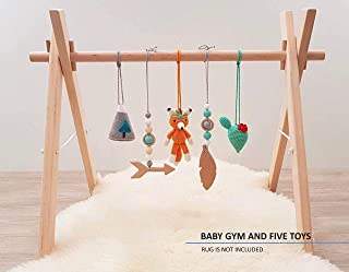 Tribal Baby Play Gym with 5 Mobiles: Fox, Cacti, Mountain, Feather, Arrow. Handmade in Eastern Europe by LanaCrocheting. Foldable Wood Gym Frame, Activity Center Newborn Gift, Native American. Boho