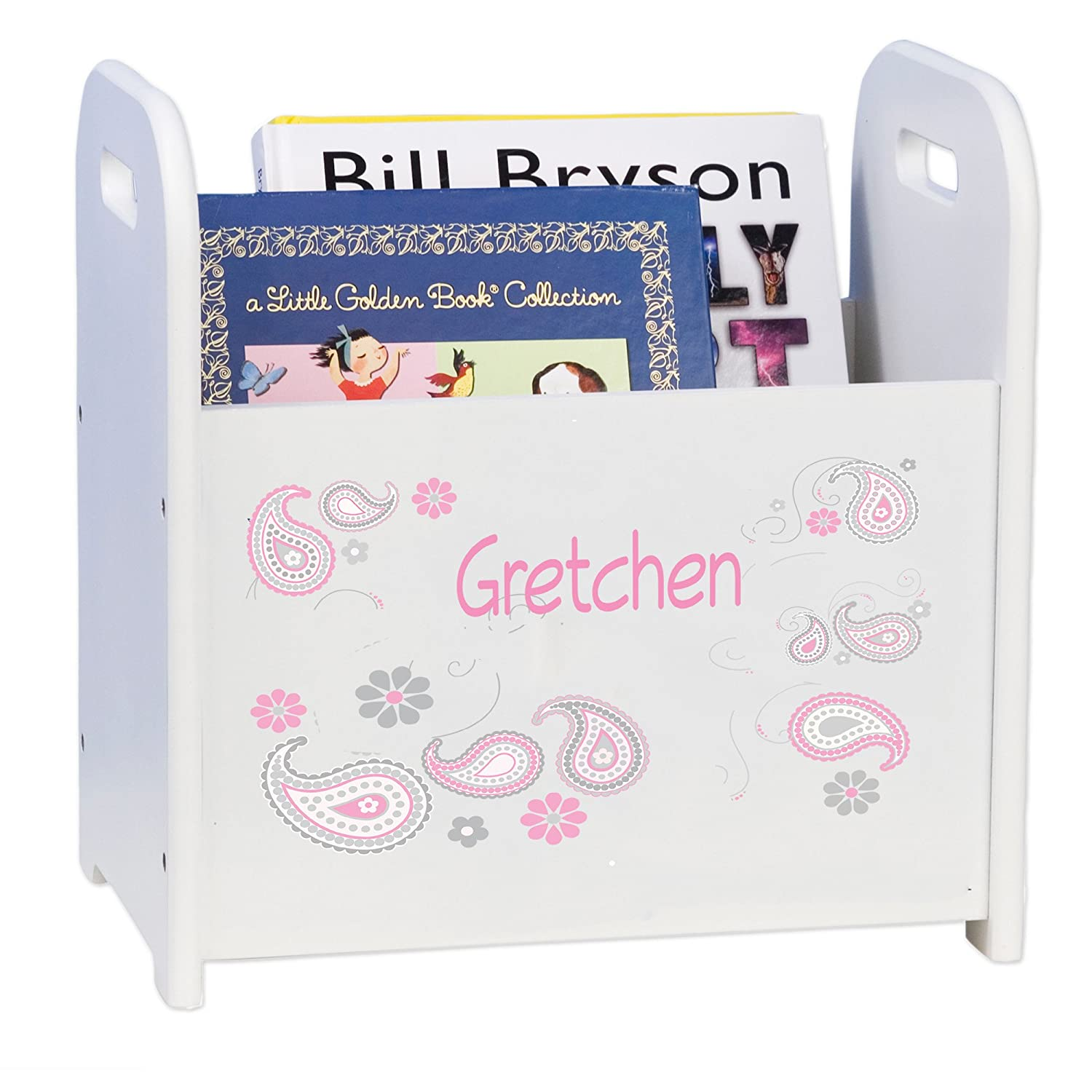 Max 50% OFF Max 49% OFF Personalized Paisley Pink Gray White and Book Caddy Rack