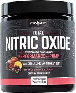 ONNIT Total Nitric Oxide - Caffeine Free Pre Workout Powder w/Beet Root, L Arginine & L Citrulline Malate | Boost Energy & Recovery | Harvest Fruit Flavor - 20 Servings