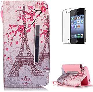 iPhone 4/4S Premium Leather Wallet Case [Free Screen Protector],KaseHom Classic Flower and Tower Pattern Design Folio Flip Magnetic Shockproof Protective PU Leather Case Cover Skin Shell