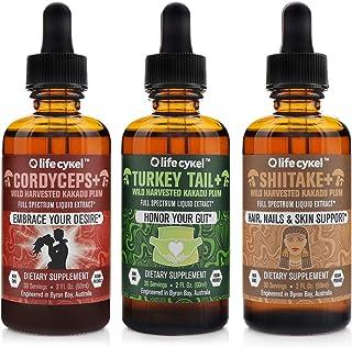 Life Cykel Energy Support, Gut, and Skin Health Dietary Supplement Bundle - Cordyceps, Turkey Tail, and Shiitake Mushroom ...