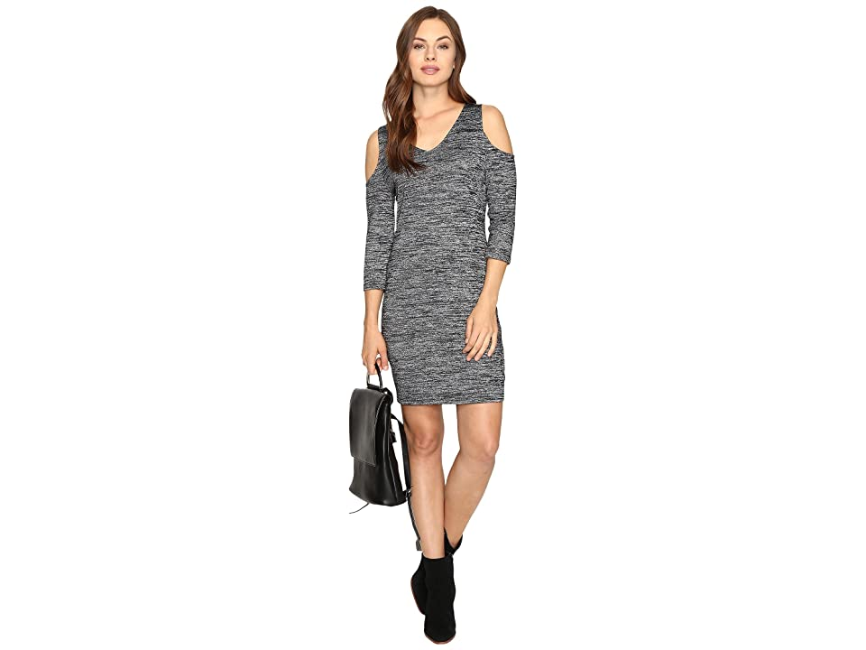kensie Space Dye Jersey Dress KSDK7418 (Black Combo) Women