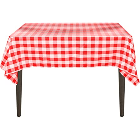 Amazon Com Linentablecloth 54 Inch Square Polyester Tablecloth Red White Checker Home Kitchen